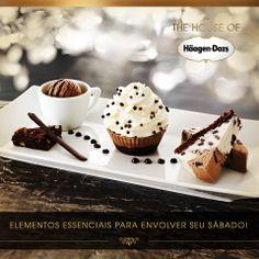 Você desejou o sábado e ele chegou muito bem acompanhado por Häagen-Dazs. http://on.fb.me/1o37HAg #houseofhaagendazs #cupcake #brownie #sobremesa