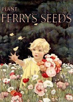 Plant Ferry's Seeds Vintage Poster (artist: Belemer) USA c. 1925 (Art Prints, Wood & Metal Signs, Ca Vintage Diy, Images Vintage, Vintage Labels, Vintage Cards, Unique Vintage, Vintage Prints, Vintage Posters, Vintage Graphic, Seed Art