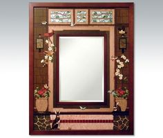 PRICE INCLUDES SHIPPING HRI - 1061 - Craftsman's Bungalow Border Mirror by Jeff Nelson - Frame size is x and the glass size is 919 piece inlay utilizing 28 species of select Hardwood, Mother of Pearl, Abalone, Malac. Inlay, Gallery, Bungalow, Craftsman Bungalows, Home Decor, Craftsman, Hudson, Hudson River, Hardwood