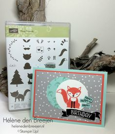 Foxy friends- Stampin' Up! Birthday Cards For Boys, Happy Birthday Cards, Girl Birthday, Baby Cards, Kids Cards, Card Making Inspiration, Making Ideas, Foxy Friends Punch, Red Minnie Mouse