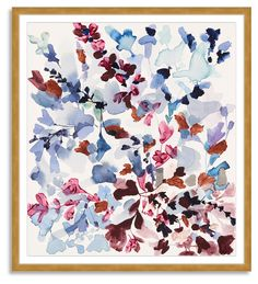This expressive floral abstraction from artist Jen Garrido is reproduced here on fine-art paper, matted, and set in a golden wood frame. Arrives ready to hang.