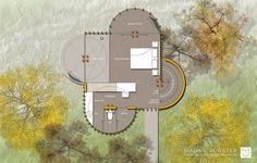 SLEEPING LEVEL PLAN.  Malan Vorster Architecture Interior Design will be constructing a compact house on tree rich land in the picturesque Constantia area of Cape Town.  The structural elements of the house make habitable space akin to a clearing surrounded by trees.