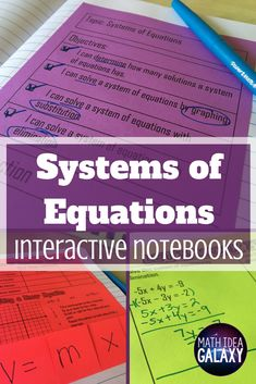 Teaching systems of equations with interactive notes. In this post I share each step of the way from introductory activities, to foldable notes, to guided practice. Check it out! Algebra Activities, Maths Algebra, Math Resources, Classroom Resources, Math Games, Systems Of Equations, Science Notes, Guided Practice, Secondary Math