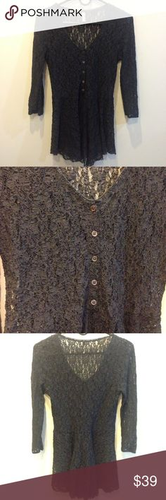 FREE PEOPLE Charcoal Lace Button Front Blouse Free People charcoal lace button front top. Sheer and has lace as its body- peplum like bottom half and is very cute with jeans and layered with a tank- size medium. Free People Tops