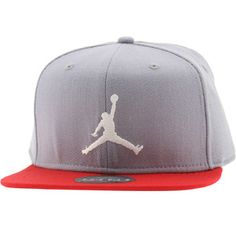 Jordan True Jumpman Snapback Cap (grey   red) 513405-025 -  28.00 Flat 30aa98c32