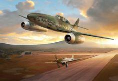 The Willow Grove Me 262 in it's prime. Messerschmitt Captured Me 262 b-1 'Watson's Whizzers' - http://coles-aircraft.myshopify.com/products/messerschmitt-captured-me-262b-watsons-whizzers-ron-cole-aviation-art