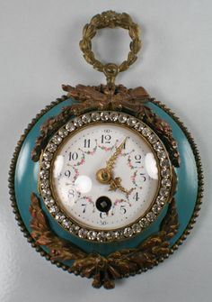 Antique French Enameled Porcelain Face Wall Clock Marked C H 3107 Glass Stones | eBay