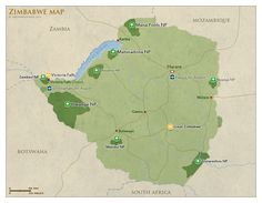 #Map of Zimbabwe with national parks and #highlights | #Zimbabwe Safari Travel Guide – Parks, Best Time, Photos, Videos & Reviews!