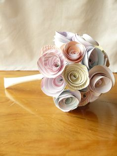 Pastel Paper Flower Bouquet  Bride's by QuillingInTheNameOf, $30.00