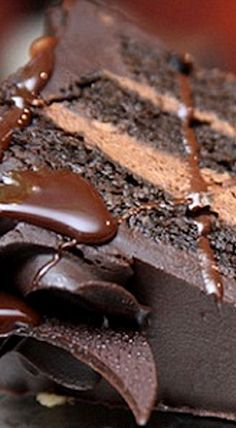 Decadent Chocolate Cake with Chocolate Mousse Filling - definitely a cake for chocolate lovers and worthy of a special occasion. Intense through and through! ❊