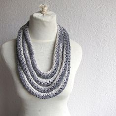 Gray Knitted  Scarf / Necklace, Big necklace Scarf, Statement Jewelry, French Woman fashion , Extra Long on Etsy, $32.90