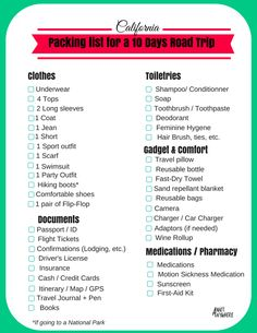 What to pack for a 10 days road trip in California,  between San Francisco and Los Angeles. | Practical printable list.