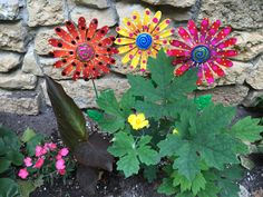 Metal Garden Art FlowersSet of Three Garden by PondScumCeramics