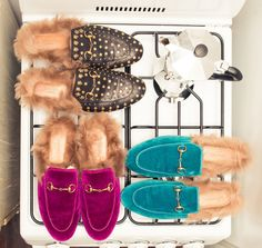 Meet Zerina Akers, Beyoncé's personal stylist, whose own wardrobe we would kill for. --- Purple, teal and beaded Gucci fur slippers. | Coveteur.com
