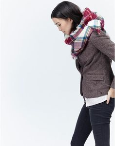 HEYFORD Womens Soft Oversized Checked Woven Scarf