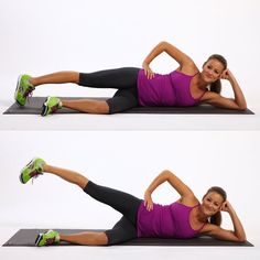 Lose Fat - Those familiar with barre exercises will love these side saddle leg lifts that can be done anywhere: Start. - Do this simple 2 -minute ritual to lose 1 pound of belly fat every 72 hours Love Handles, Loose Weight, Ways To Lose Weight, Weight Gain, Lying Leg Lifts, Burn Thigh Fat, Workout Bauch, Thigh Exercises, Band Exercises