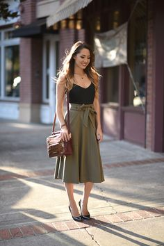 Sultry Mauve  Buxom Bold Gel Lipstick in Sultry Mauve, Express Top, Banana Republic Skirt (previous year but similar here and here), Jimmy Choo Heels (alsoperfect in suede for fall), Etienne Aigner Bag, Peggy Lind Necklace Fashion Trend by Hapa Time