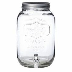 """2-gallon glass beverage dispenser with a mason jar-inspired design.   Product: Beverage dispenserConstruction Material: Glass and metalColor: Clear Features: 2 Gallon capacity Dimensions: 20"""" H x 10"""" Diameter"""