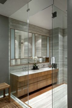 Teak Floor in Shower - West Village Townhouse Kevin O'Sullivan + Scott Jardine