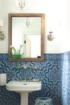 Mark D. Sikes, House Beautiful: powder room, Portuguese tile, blue, white >> Love the simple style and beautiful tile work.