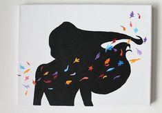 Pocahontas Silhouette Canvas Painting Colors of the wind Disney Canvas, Art Disney, Disney Crafts, Disney Tangled, Disney Princess, Disney Silhouette Painting, Princess Silhouette, Diy Painting, Painting Art