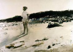 dappledwithshadow:  Andrew Wyeth (American, 1917 - 2009)Carol on the Beach1950Watercolor on paper
