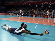 Image detail for -Destinee Hooker of the U.S. dives to save the ball during their women's Group B volleyball match against China at Earls Court during the London 2012 Olympic Games August 1, 2012. REUTERS/Ivan Alvarado