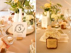 Tres Chic Affairs featured on Wedding Chicks by John Schnack Photography Orfila Vineyards, Winery Wedding, Vintage, Lace, DIY, Table numbers, honey, wedding favors