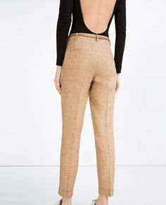 LINEN TROUSERS WITH BELT-View all-WOMAN-NEW IN | ZARA United States