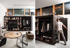 Pra pequenos espaços: guarda-roupa, cama, estante e depósito num móvel só