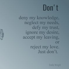 Don't an Emily Wright original poem