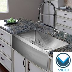 Complete your kitchen with Vigo's single-sink kitchen set featuring a 30-inch farmhouse-style apron front sink, stainless steel faucet, soap dispenser, matching bottom grid and sink strainer finished in a premium scratch-resistant satin stainless steel.