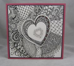 I stamped a Hero Arts Heart and tangled around it to make a fun tangled Valentine. Tangle Doodle, Tangle Art, Doodles Zentangles, Zen Doodle, Zentangle Patterns, Doodle Art, Heart Doodle, Doodle Borders, Doodle Inspiration