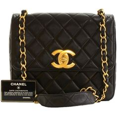 Pre-owned Chanel 10inch Quilted Leather Flap Large Cc Logo Shoulder... (258445 DZD) ❤ liked on Polyvore featuring bags, handbags, shoulder bags, black, chanel, quilted leather handbags, black purse, crossbody handbags and chanel purses