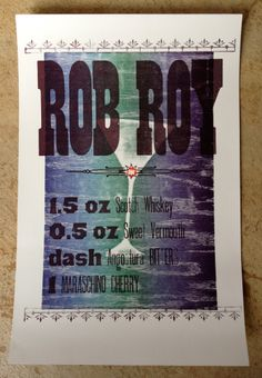 Rob Roy Poster - a collaborative wood type/pressure print poster done with students at UT Austin Rob Roy Kelly wood type collection. 2011