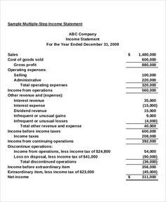 Multi Step Income Statement Income Statement Statement Template
