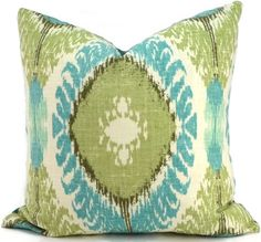 Turquoise and Green Ikat Decorative Pillow Cover, Throw Pillow Cover, Lumbar Pillow, Accent Pillow, Turquoise Pillow, 20x20