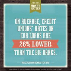 Be sure to check out your credit union when financing your next car! You're likely to get a much better rate than at a big bank or dealership.