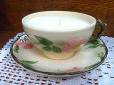 Custom Poured Franciscan Desert Rose Teacup Candle - Teacup Candle - Variety of Scents Available