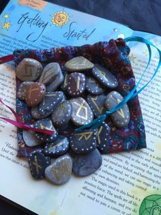 Small Rune Stones & Bag. 25 Welsh SEA STONE RUNES by wildseawitch
