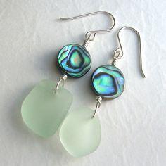green sea glass blue abalone