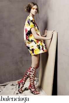 Balenciaga Abstract Pattern Print Dress & Boots