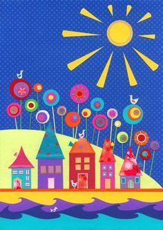 Under A Warm Sun  giclee art print by CarolineRoseArt on Etsy, £12.50