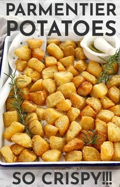 These crispy, crunchy little cubes of golden goodness are my parmentier potatoes. They are oven baked, then sprinkled with my herb salt - made with rosemary and lemon. #chefnotrequired #potatoes Fruit Recipes, Potato Recipes, Summer Recipes, Healthy Recipes, Cubed Potatoes, Creamy Mashed Potatoes, Vegetable Sides, Vegetable Recipes, Small Food Processor