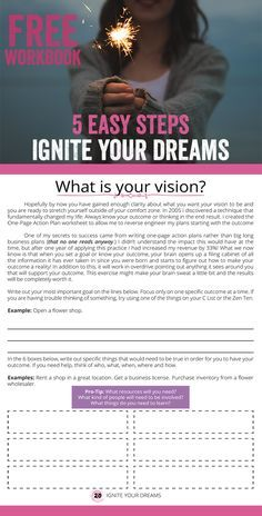 [FREE PRINTABLE] Hay House Author - Mary Shores - Ignite Your Dreams Personal Development Workbook - 26 Full Color Pages - Sign Up to Download