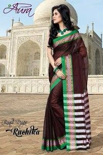 Brown wit green and cheeks border cotton saree