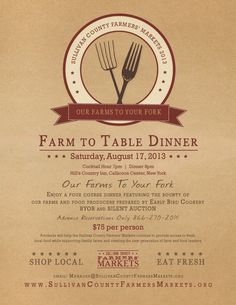 Callicoon Ctr, NY Our Farms to You Fork, a Farm to Table 4 Course Dinner featuring the bounty of our farms and food producers prepared by Early Bird Cookery.   Proceeds will help SCFMA continue to provide access to… Click flyer for more >>