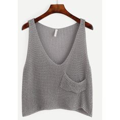 Grey Knit Crop Tank Top With Front Pocket ($15) ❤ liked on Polyvore featuring tops, ropa, grey, embellished crop top, knit vest, crop tank tops, summer tank tops and gray tank top