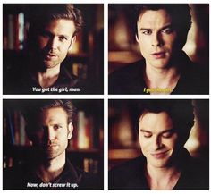"""Awww love Alaric so much!!! I wish he could have stayed Damon, Elena & Jeremy really need him!  Love Damon's expression in this scene when he realizes he finally has the girl :"""")"""