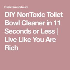 DIY NonToxic Toilet Bowl Cleaner in 11 Seconds or Less | Live Like You Are Rich